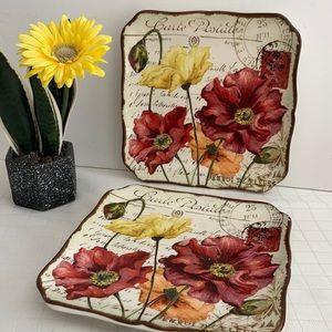 Pier 1 plate set spring blooms set/2 floral